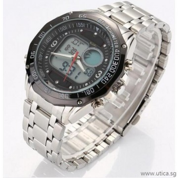Solar LED Dual Display Steel Strap Quartz Wrist Watch